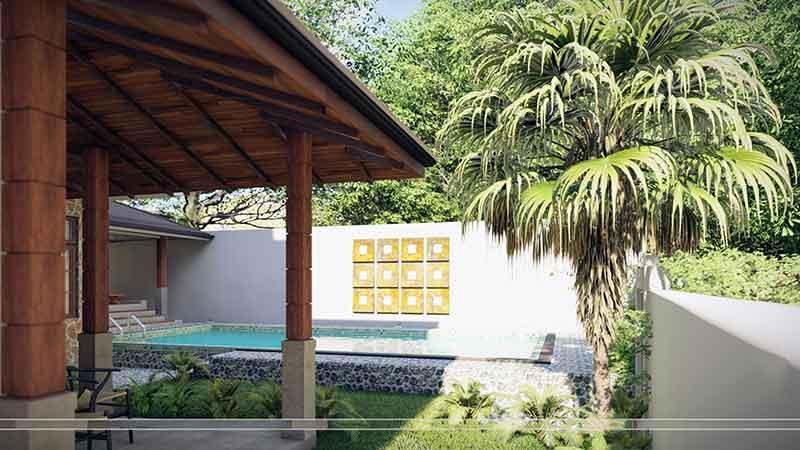 Phần bên hiên Villa resort có nhiều cây xanh