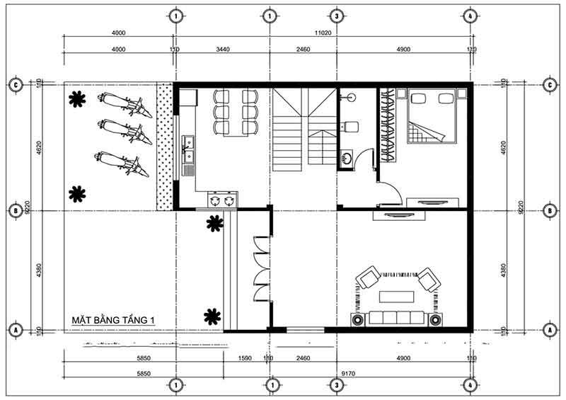 Bản thiết kế nhà 2 tầng mái lệnh tầng 1
