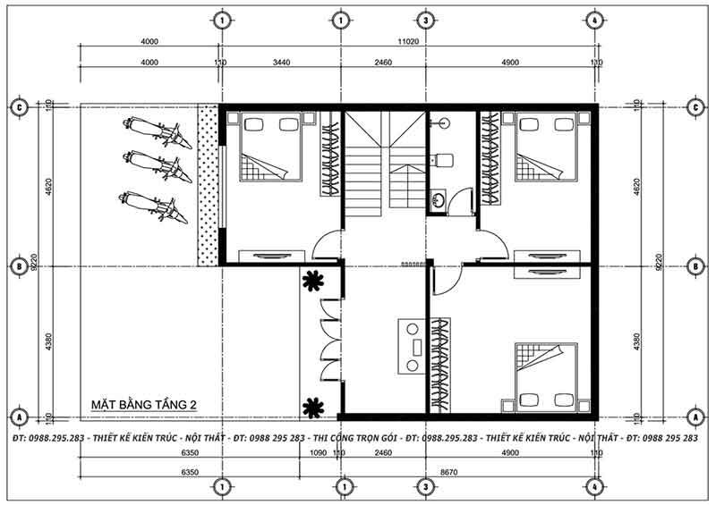 Bản thiết kế nhà 2 tầng mái lệnh tầng 2