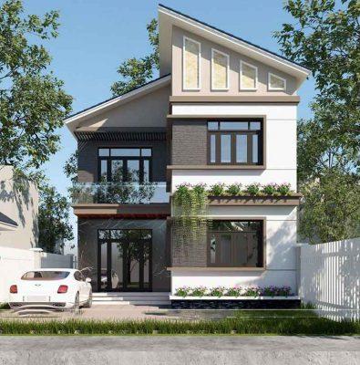 Thiết kế nhà 2 tầng mái lệch tại Vĩnh Phúc