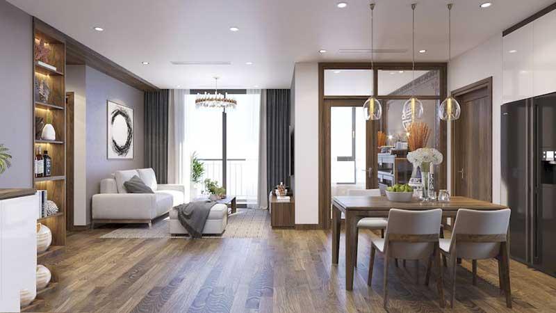 Nội thất phòng khách + Bếp – Góc view 1