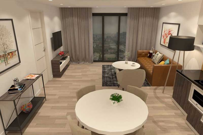Phòng khách liên thông với phòng ăn tạo độ mở cho không gian-view 2
