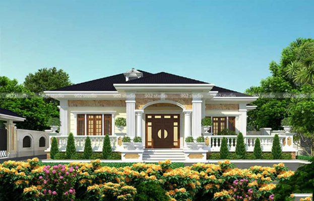 Thiết kế mẫu nhà biệt thự 1 tầng tại Vĩnh Phúc