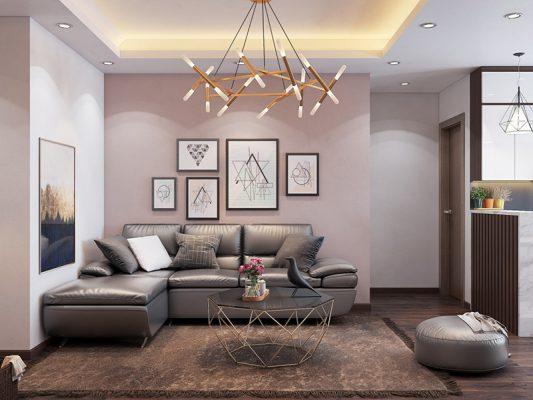 Phòng khách chung cư với thiết kêế hiện đại đơn giản