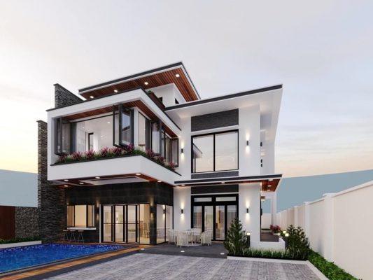 Thi công và thiết kế nội thất biệt thự có hồ bơi