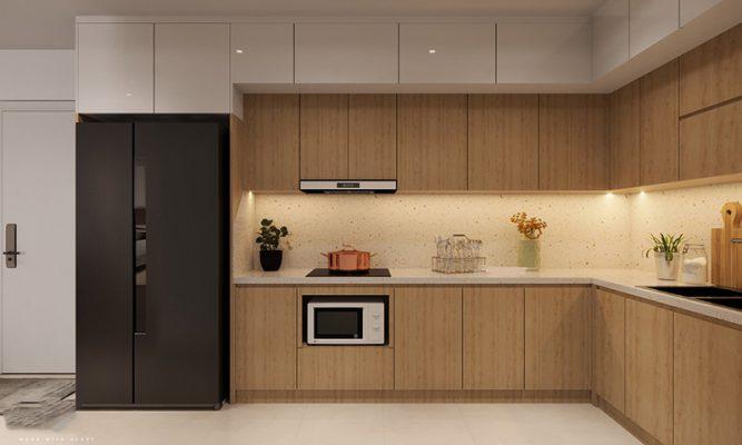 Nội thất bếp chung cư nhà anh Tuấn
