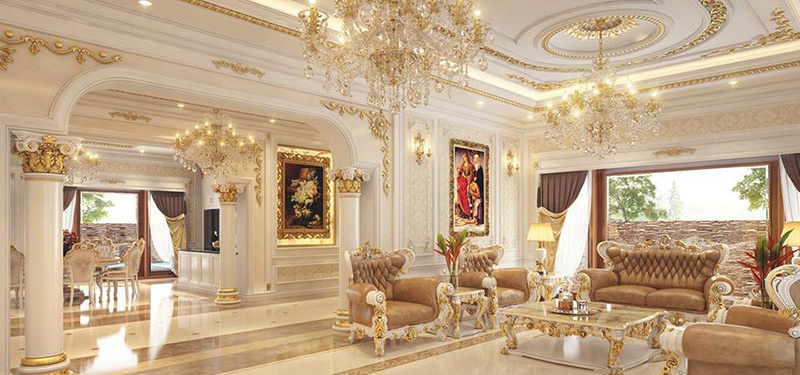 Mẫu thiết kế nội thất phòng khách với phong cách tân cổ điển
