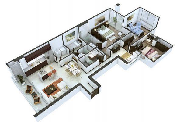 Bản thiết kế nhà cấp 4 có 4 phòng ngủ