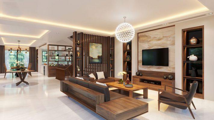 Mẫu thiết kế nội thất phòng khách với phong cách hiện đại