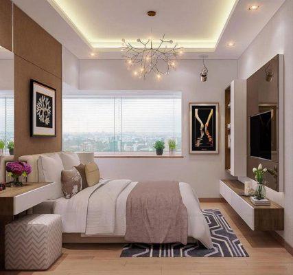 Phòng ngủ với khung cửa rộng lấy sáng thiên nhiên