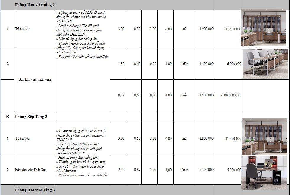 Bảng báo giá thi công nội thất tại Vĩnh Phúc