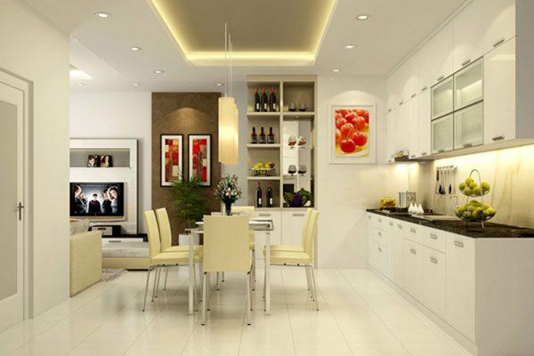 Thiết kế nội thất phòng bếp với màu sắc tươi mới