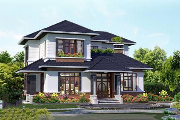 Nhà mái chéo hai tầng đẹp