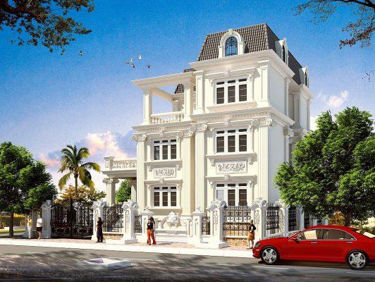 Thiết kế biệt thự tân cổ điển kiểu pháp 3 tầng tại Vĩnh Phúc