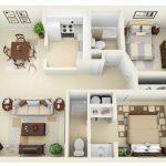 Thiết kế thi công nội thất căn hộ hai phòng ngủ
