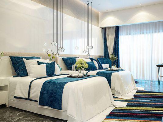 Phòng ngủ lớn sử dụng gam màu lấy sáng, và tận dụng ánh sáng thiên nhiên qua cửa kính lớn