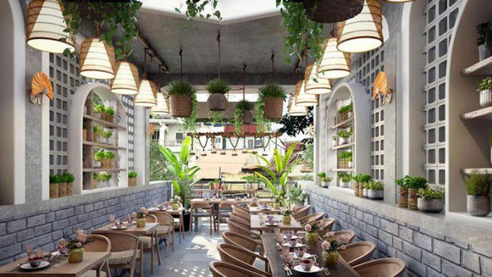 Cafe sáng tại không gian xanh khách sạn