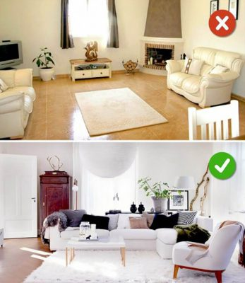 Lỗi cơ bản trong thiết kế phòng khách