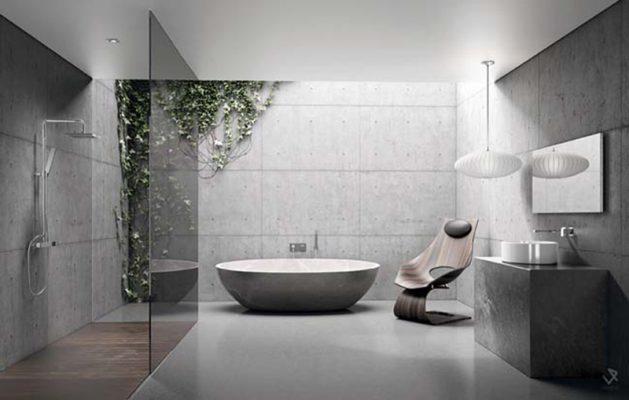 Nội thất phòng tắm hiện đại không gian xanh