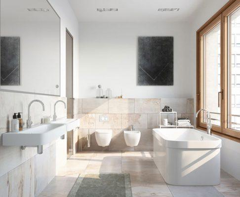 Nội thất phòng tắm hiện đại không gian mở