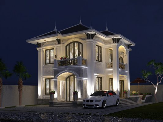 Thiết kế biệt thự cổ điển 2 tầng tại Vĩnh Phúc