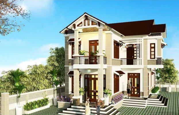Công ty thiết kế thi công nhà 2 tầng chữ L tại Vĩnh Phúc