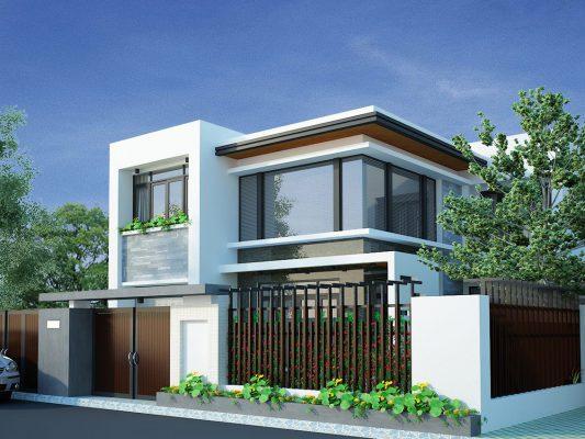 Thiết kế nhà 2 tầng mái bằng tại Vĩnh Phúc