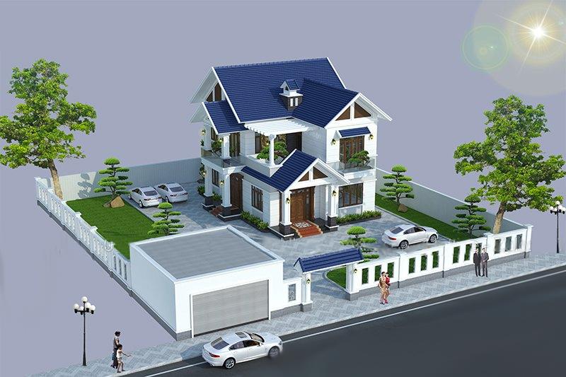 Thiết kế biệt thự 2 tầng 6 phòng ngủ tại Vĩnh Phúc