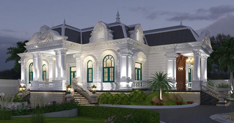 Thiết kế biệt thự 1 tầng kiểu Pháp tại Vĩnh Phúc