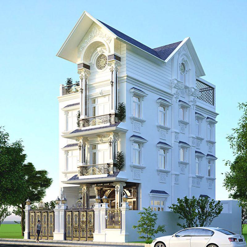 Thiết kế biệt thự 4 tầng tân cổ điển tại Vĩnh Phúc
