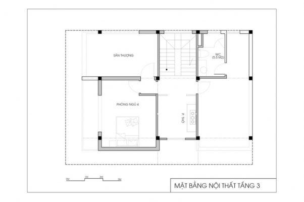 Mặt bằng công năng của mẫu biệt thự 3 tầng hiện đại