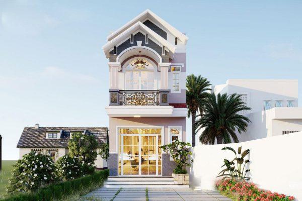 Thiết kế nhà phố mái thái 2 tầng cho chị Minh tại Vĩnh Phúc