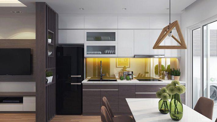 Không gian bếp nấu trong chugn cư hai phòng ngủ