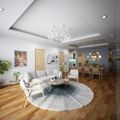 Nội thất phòng khách đơn giản với tông màu trắng