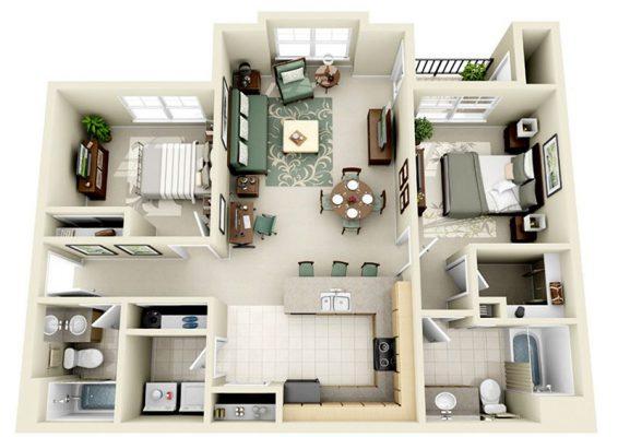 Bố trí không gian trong thiết kế njội thâất chung cư hai phòng ngủ