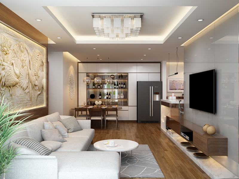 Phòng khách trong thiêết kế nội thất chugn cư hai phòng ngủ hiện đại
