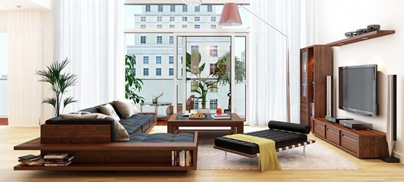 Nội thất phòng khách hiện đại chất liệu gỗ da