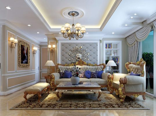 Thiết kế thi công nội thất phòng khách tân cổ điển 01