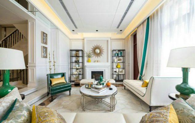 Màu sắc trong Thiết kế thi công nội thất phòng khách tân cổ điển