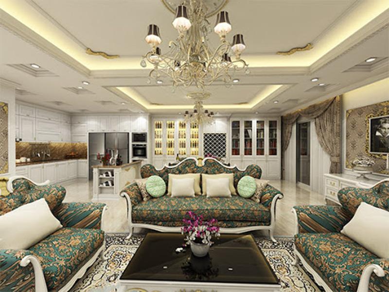 Thiết kế thi công nội thất phòng khách tân cổ điển