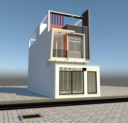 Thiết kế nhà ống 2 tầng tại Vĩnh Phúc