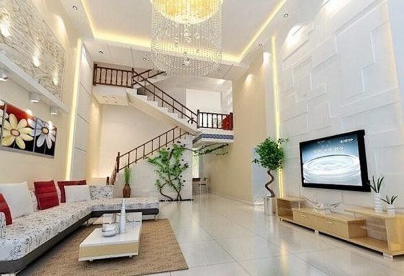 Thiết kế nội thất phòng khách đẹp hiện đại nhà ống