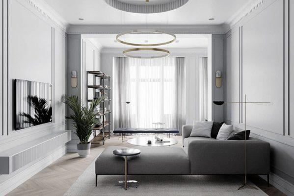 Không gian Thiết kế thi công nội thất phòng khách tân cổ điển