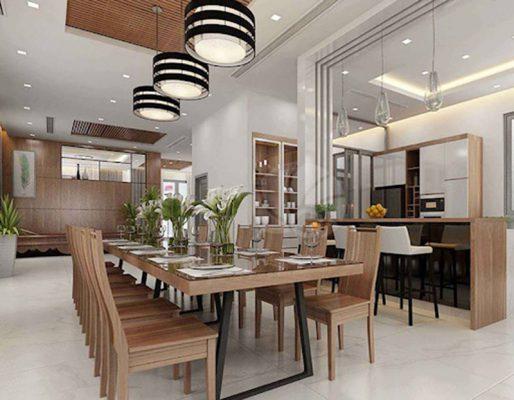 Thiết kế thi công nội thất phòng ăn biệt thự phố