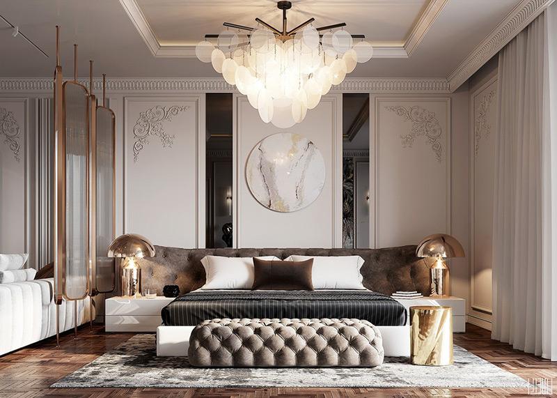 Thiết kế nội thất phòng ngủ tân cổ điển đẹp