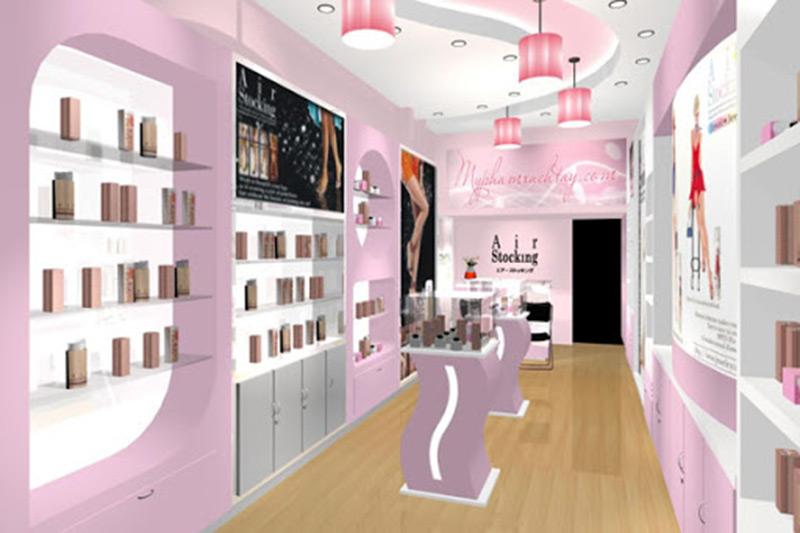 Thiết kế shop mỹ phẩm đẹp tím nhạt
