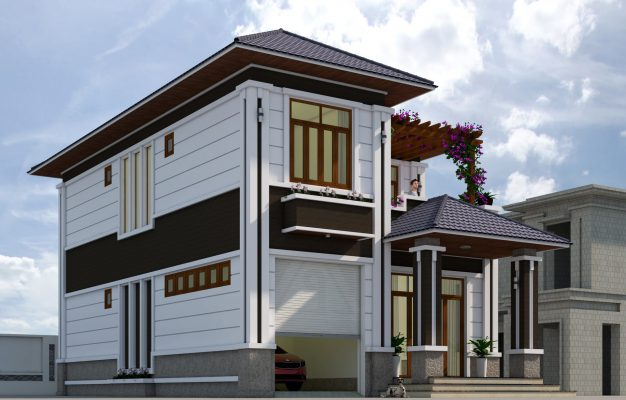 Thiết kế biệt thự 2 tầng 9.3x15.6m