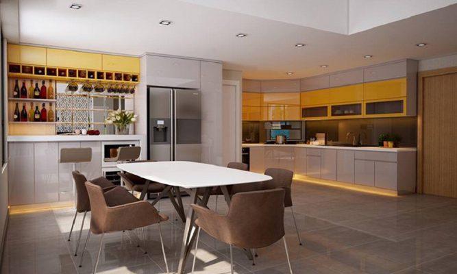 Tủ bếp - bàn ăn phong cách hiện đại bằng nội thất nhà bếp cao cấp