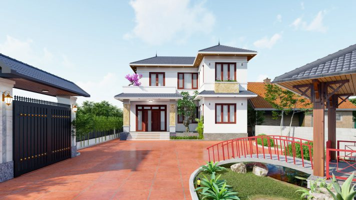 Thiết kế thi công biệt thự 2 tầng mái nhật cho anh Đường Minh Quang Tam đảo