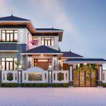 Thiết kế thi công biệt thự 2 tầng mái nhật anh Phú Yên Lạc Vĩnh Phúc